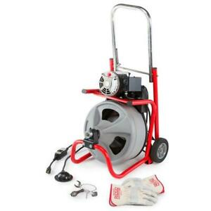 Ridid 115 volt K 400 Drain Cleaning Drum Machinew c 32 3 8in Cable And Tool Set