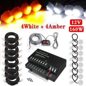 Hide a way 160w 8 White Amber Led Bulb Emergency Warning Strobe Light Kit System