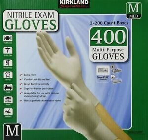 Kirkland Signature Disposable Nitrile Exam Gloves 2 X 200 Medium Size 400 Count