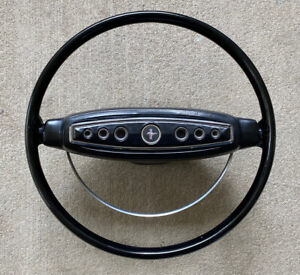 Original 1968 Ford Mustang Steering Wheel Black W Pad And Buttons Excellent