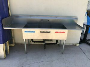 Eagle Group 2148 3 18 16 3 Three Compartment Stainless Steel Commercial Sink