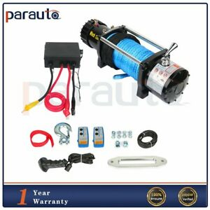 12000lb Electric Winch Towing Trailer Synthetic Cable Off Road Remote Control