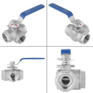 Sus304 1pc Three way Water Valve Ball Valve For Hydronic Heating Potable Water