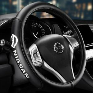 Genuine Leather For Nissan New Black 15 Diameter Car Auto Steering Wheel Cover