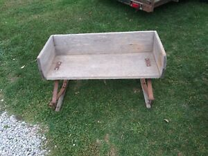 Vintage Horse Drawn Buckboard Carriage Buggy Wagon Sleigh Wooden Bench Seat