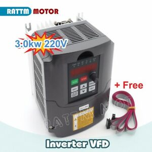 3kw Variable Frequency Drive Vfd Inverter 220v 4hp Output 3 Phase 13a 2m Cable