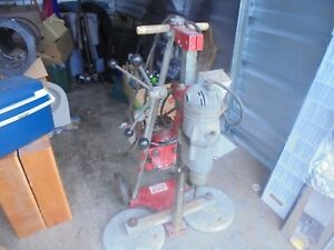 Vintage Milwaukee Concrete Core Drill dirty But Working With Stand Wheels