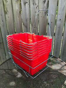 Red Plastic Shopping Baskets Metal Handle Comfort Grip W metal Basket Stand