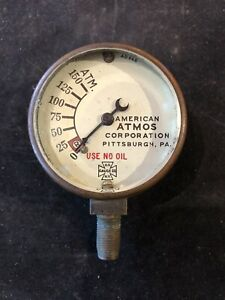 Vintage Pressure Guage American Atmos Corp Brass 0 150 Atm Use No Oil Us Ny Rare