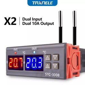 Stc 3008 Dual Temperature Controller Two Relay Output Thermostat Heater Cooler