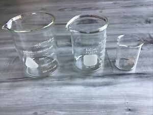 3 Vintage Beakers Pyrex Measuring Set Spout Lab Glass Scientific Science