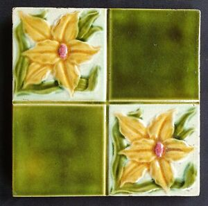 Victorian Floral Majolica Tile Corn Brothers C1900