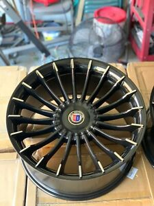 19 Alpina Rims Gloss Black Machined Tipped Wheels B7 Style Staggered Set Of 4