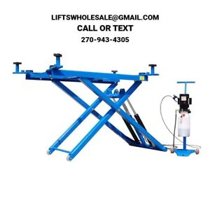 New 60 High Titan 6 000 Lbs Mid Rise Scissor Lift With Free Adapters 110v