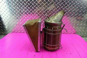 Vintage Bee Hive Smoker Dadant Sons Inc Leather Bellows Works