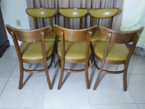 Vintage Danish Modern Wood Dining Side Chair By Bianco Manufacturing Set Of 6