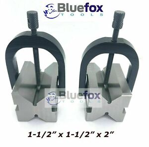 Steel V Block 2 x1 5 x1 5 With Sets Of Clamp Hardened Ground