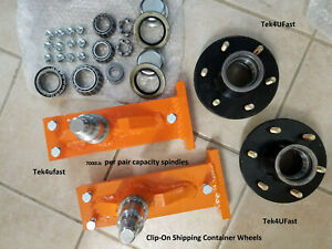 Clip on Shipping Container Wheels 7000 Spindle Kit 1 Set Over 100 Sets Sold