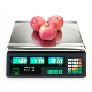 88lb 40kg 5g Digital Weight Scale Price Computing Food Meat Produce Deli Market