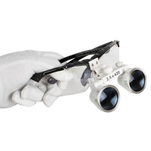 Black Dentist Dental Surgical Binocular Loupes 2 5x 420mm Optical Glass Loupe