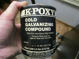 1 Quart Can K poxy Industrial Grade Cold Galvanizing Compound Pure Zinc Gray