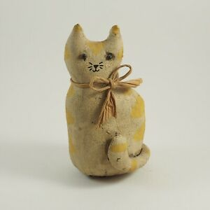 Primitive Stuffed Folk Art Cat Hand Painted Very Old 7 Signed Smm C