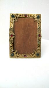 Antique Victorian Gilt Bronze Cut Glass Jeweled Picture Frame
