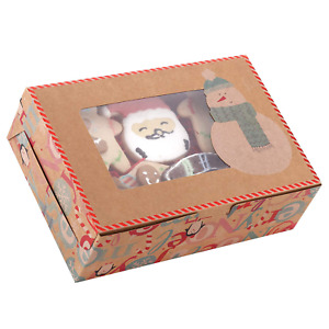 20 pack Christmas Cookie Gift Boxes With Window 8 7 X 6 X 2 8 Brown Kraf