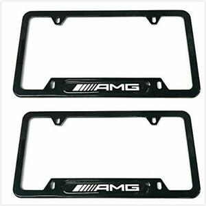 Car Stainless Steel Amg License Plate Tag Frame Cover W caps For Mercedes Benz