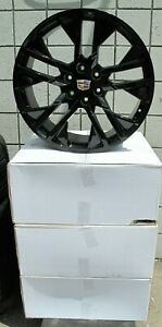 22 New Cadillac Escalade Factory Style Black Set Of 4 Wheels 5903 S H