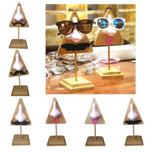 Tabletop Solid Wood Eyewear Display Rack Funny Mustache