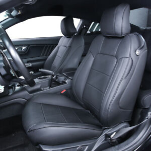 Black Pu Leather Seat Cover Custom For 2015 Up Ford Mustang Coupe V6 Gt Full Set