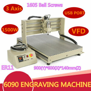 Vfd 3 Axis Cnc 6090 Router Engraver Milling Carving Machine Cutter Usb 1 5kw