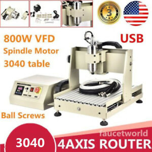 Cnc3040 Router 3d Cutter Engraver Engraving Cutting Milling Machine 4 Axis Usb