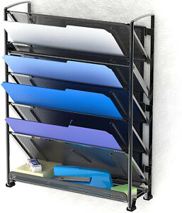 Rack Tray Organizer Document Letter File Holder 6tier Wall Mount Office Supplies