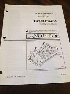 Land Pride Rtr25 Reverse Rotary Tiller Operators Owners Manual