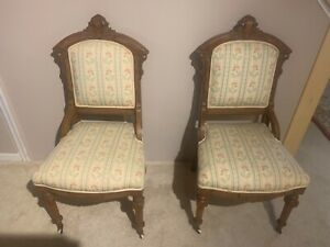 Set Of Two Vintage Eastlake Wooden Chairs