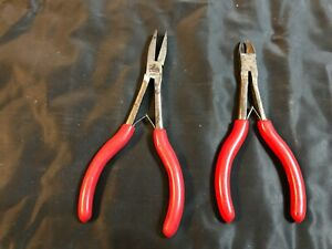 2 Pc Mac Tools Usa Red Handle Cutters Duck Bill Pliers P301712 And P301711
