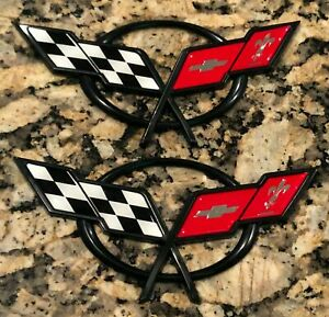 2 Pieces Cross Flag Emblem Fits Corvette C5 Front Rear 1997 2020