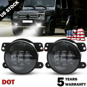 Pair 4inch Round Led Fog Lights Driving Lamp For Jeep Wrangler 97 17 Jk Tj Cj