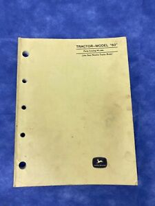 John Deere Parts Catalog For Model 60 Tractor Pc244
