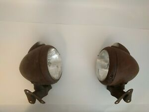 Original Guide 682c Headlights With Stands Glass Signals Patina Vintage V8 Rod