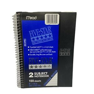 Mead Five Star Wirebound Notebook College Rule 6 X 9 1 2 We 100 Sheets No 6180