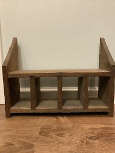 Primitive Wooden Barn Fresh 4 Cubbies Book Mail Shelves Apothecary Storage