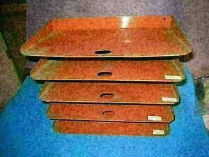 Desk Organizer Industrial Metal 5 Shelve Tray Orders Invoice Mid Century 52a4