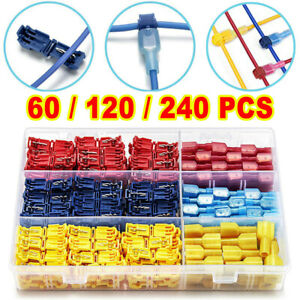 240pcs Insulated T tap 22 10 Awg Quick Splice Wire Terminal Combo Connectors Kit