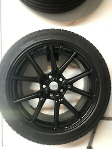 Painted Black Tesla Model 3 18 Rims Michelin Tires And Aero Caps Very Good