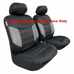 Mesh Seat Cover Front Pair Gray Black Embroidery For Toyota Tacoma 1999 On