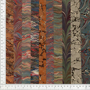 Hand Marbled Paper Precut Set Of 10 13x48cm 5x19in Bookbinding Restoration