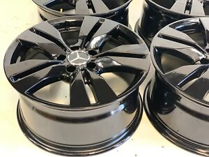 17 Inch 4 Mercedes E S C Class Factory Original Staggered Wheels Rims Black 5